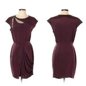 Ali Ro Purple Sheath Dress with Lace Accent